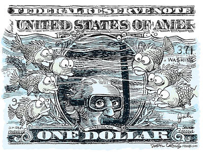 Drawing - Dollar Submerged by Daryl Cagle