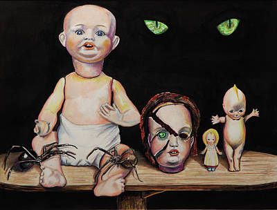 Painting - Dolls And Spiders by Chris Benice