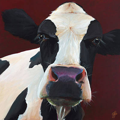 Cow Wall Art - Painting - Dolly The Holstein by Cari Humphry