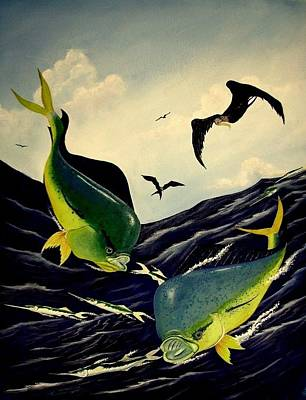 Ballyhoo Painting - Dolphin And Ballyhoo by Dave Combs