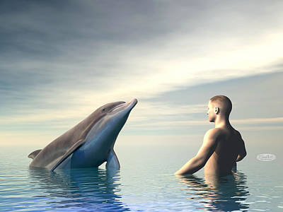 Cetacean Digital Art - Dolphin And Man - 3d Render by Elenarts - Elena Duvernay Digital Art