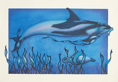 Dolphin And Turtle Art Print by Erik Loiselle