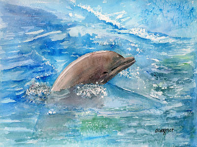 Marine Life Painting - Dolphin  by Arline Wagner