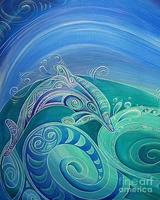 Painting - Dolphin Aroha by Reina Cottier