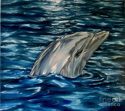 Dolphin Curiosity Oil Painting Art Print by Avril Brand