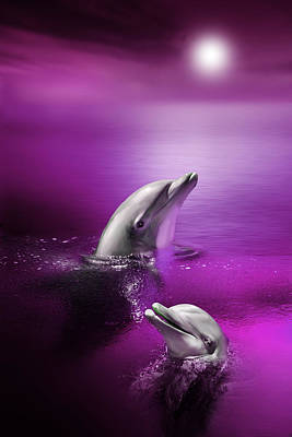 Dolphins Digital Art - Dolphin Delights by Julie L Hoddinott