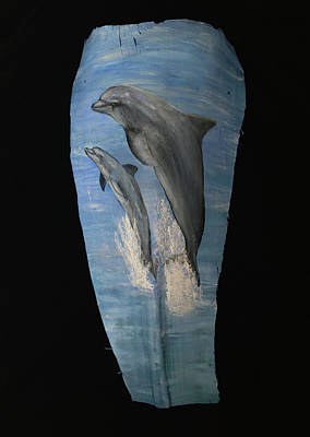 Painting - Dolphin Duo by Nancy Lauby
