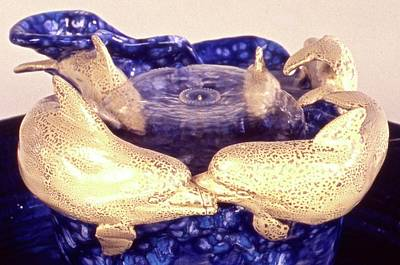 Ceramic Art - Dolphin Family by Frederick Dost