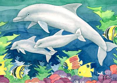 Dolphin Fish Painting - Dolphin Family by Paul Brent