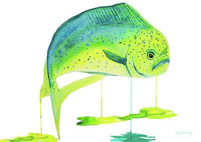 Dolphin Painting - Dolphin Fish  Mahi Mahi by Ken Figurski
