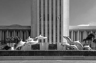 Photograph - Dolphin Fountain In Black And White by Frank Feliciano
