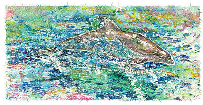 Bottle-nose Painting - Dolphin Frolic by Nick Cantrell