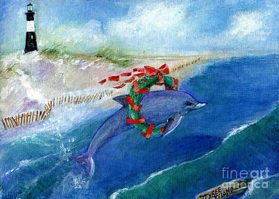 Dolphin Holiday Art Print by Doris Blessington