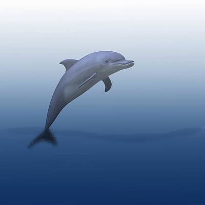 Dolphins Digital Art - Dolphin In Ocean Blue by Movie Poster Prints