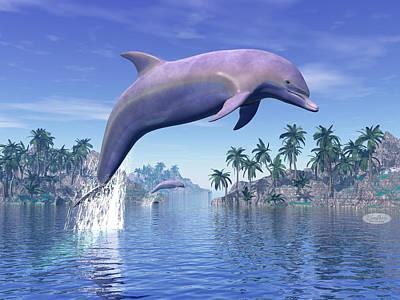 Aquatic Life Digital Art - Dolphin In The Tropics - 3d Rneder by Elenarts - Elena Duvernay Digital Art