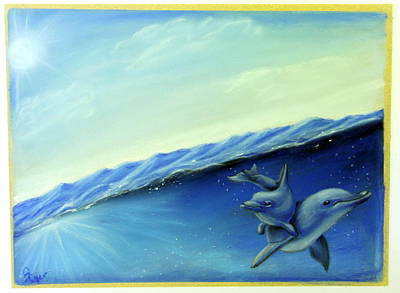 Wall Art - Pastel - Dolphin Love by Carol Iyer
