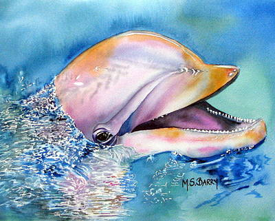 Marine Life Painting - Dolphin by Maria Barry