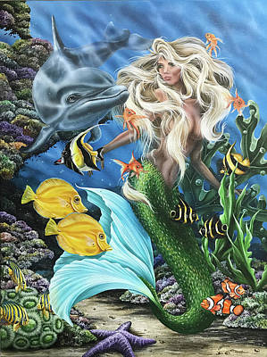 Painting - Dolphin Mermaid by Katie McConnachie