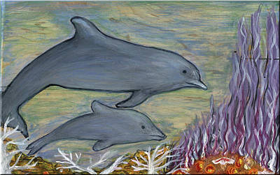 Painting - Dolphin Mother And Baby by Minnie Lippiatt