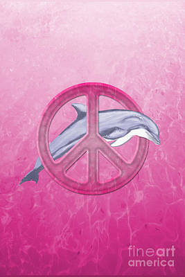 Bottlenosed Digital Art - Dolphin Peace Pink by Chris MacDonald