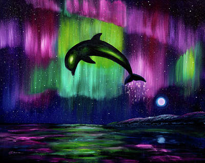 Painting - Dolphin Playing In Northern Lights by Laura Iverson