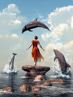Digital Art - Dolphin Rock by Daniel Eskridge