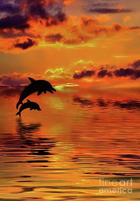 Digital Art - Dolphin Silhouette Sunset By Kaye Menner by Kaye Menner
