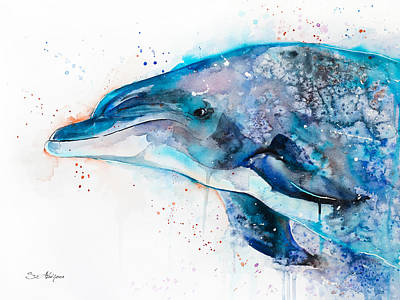 Dolphin Art Mixed Media - Dolphin  by Slavi Aladjova