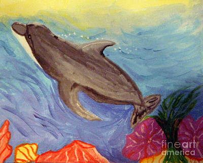 Bottle-nose Painting - Dolphin Surfacing by Elizabeth Arthur