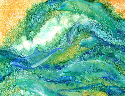 Mixed Media - Dolphin Waves 2 by Carol Cavalaris