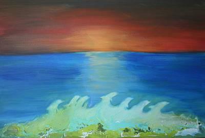 Painting - Dolphin Waves by Alma Yamazaki