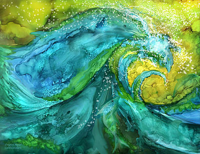Mixed Media - Dolphin Waves by Carol Cavalaris