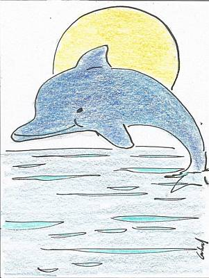 Animation Drawing - Dolphin With Sun by Gabriel Coelho