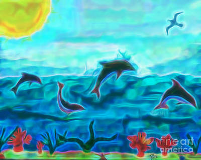 Painting - Dolphins At Play by D Hackett