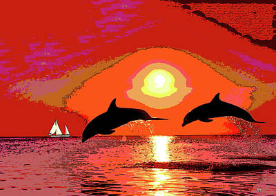 Mixed Media - Dolphins At Sunset by Charles Shoup
