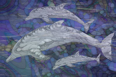 Painting - Dolphins - Beneath The Waves Series by Jack Zulli