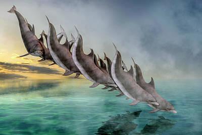 Coastal Landscape Digital Art - Dolphins by Betsy Knapp