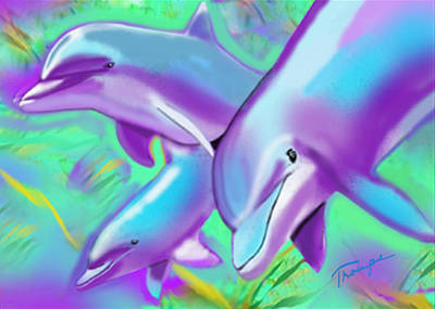 Surfer Girl Painting - Dolphins  by Connie  Troupe