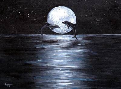 Painting - Dolphins Dancing Full Moon by Bernadette Krupa