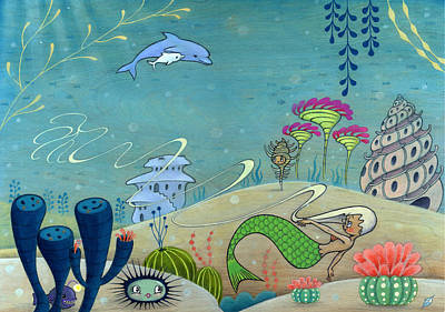Art Print featuring the painting Dolphins' Dream by Kaori Hamura Long