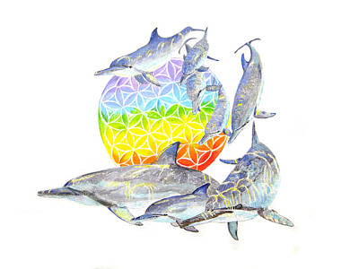 Liberation Painting - Dolphins-flower Of Life2 by Tamara Tavernier