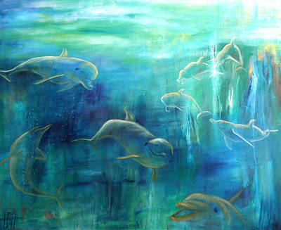 Dolphins Painting - Dolphins by Helle Borg Hansen
