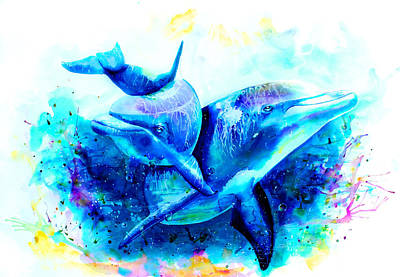 Deep Blue Painting - Dolphins by Isabel Salvador