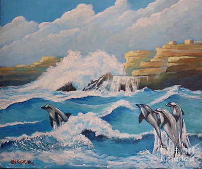 Painting - Dolphins by Jean Pierre Bergoeing