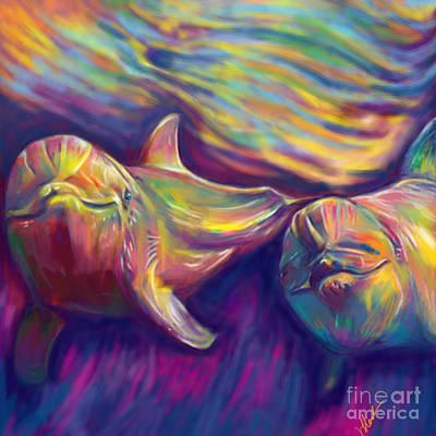 Dolphin Digital Art - Dolphins by Julianne Black