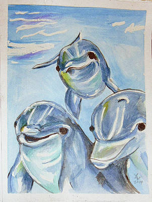 Painting - Dolphins by Loretta Nash