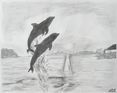 Ocean Sunset Drawing - Dolphins Of The Sea by Deborah R Minter