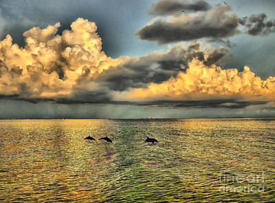 Dolphins Play At Sanibel Island Art Print by Jeff Breiman