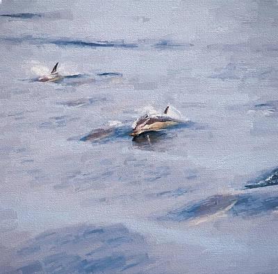 Cetacean Digital Art - Dolphins Playing 2 by Roy Pedersen