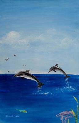 Painting - Dolphins Playing by Jamie Frier